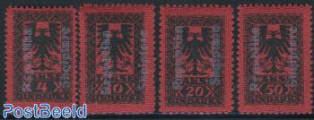 Postage due overprints 4v