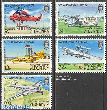 50 years airport Alderney 5v