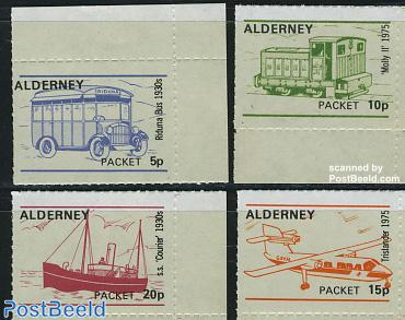 Alderney Parcel delivery stamps, Transport 4v