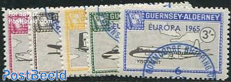 Commodore parcel stamps, Europa, planes 5v