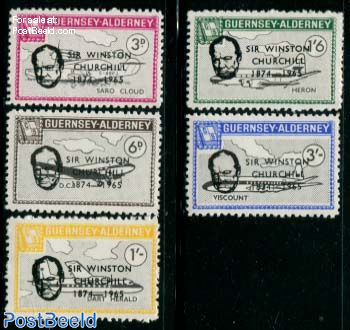 Commodore parcel stamps, Death of Churchill 5v