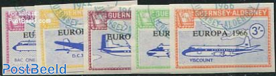 Commodore parcel stamps, Europa, planes 5v, imperforated