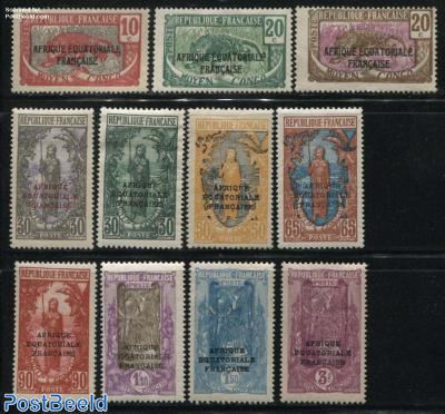 Moyen Congo overprints 11v