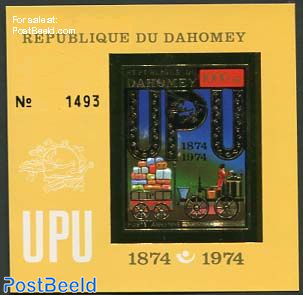 UPU Centenary, gold s/s, imperforated