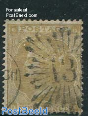 9p Oilivebrown, Queen Victoria