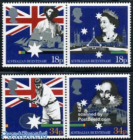 Australian bi-centenary 2x2v, joint issue Australi