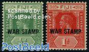 War stamp overprints 2v
