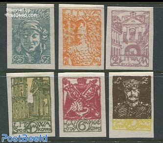 Central Lithuania, definitives 6v imperforated