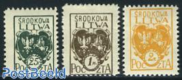 Central Lithuania, definitives 3v
