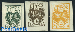 Central Lithuania, definitives 3v imperforated