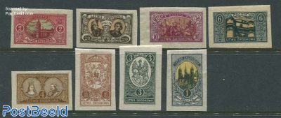 Central Lithuania, Definitives 8v imperforated
