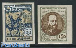 Central Lithuania, First anniversary 2v imperforat