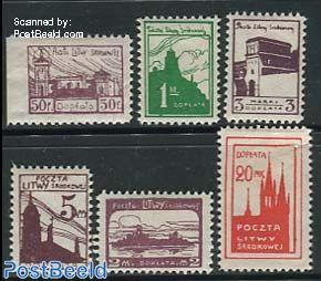 Central Lithuania, Postage due, City views 6v