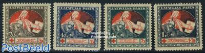 Red Cross 4v, blue on reverse side