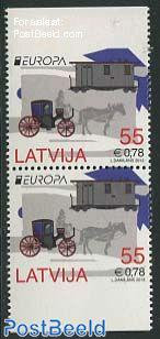 Europa, postal transport booklet pair