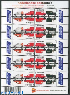 Europa, postal transport minisheet