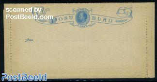Card letter (Postblad), 5c blue, King Willem III