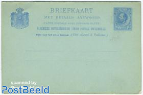 Postcard with Paid answer 5c blue