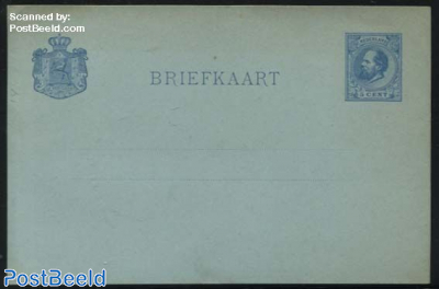 Postcard with answer 5c blue with dutch text only