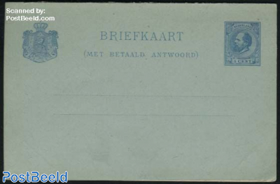 Reply Paid Postcard, 5+5c blue, Only dutch text