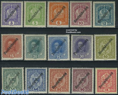 Deutschoessterreich overprints 15v