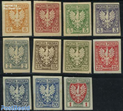 Definitives, coat of arms 11v (issued without gum)
