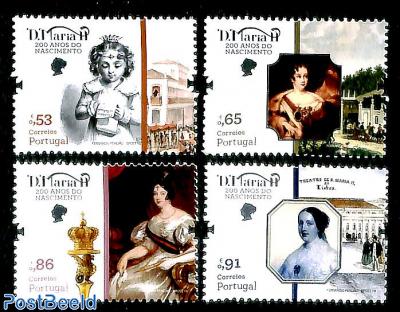 Queen D. Maria II 200th birthday 4v