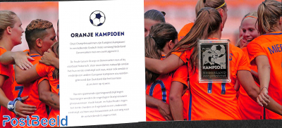 Woman football champion, special pack with silver stamp