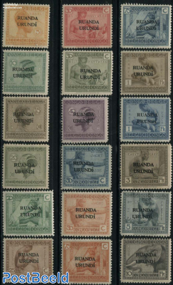 Ruanda Urundi overprints 18v