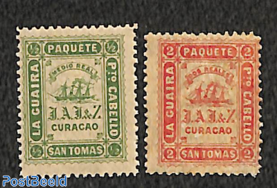 Shipmail Curacao 2v, perf. 12.5 (Jesurun issue, Waterlow&Sons, London)