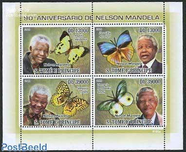 butterflies, Nelson Mandela 4v m/S