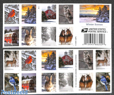 Winter scenes 2x10v in double sided booklet