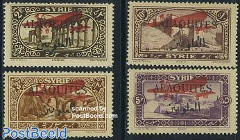 Alaouites, overprints 4v