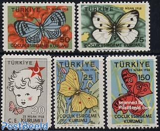 Children aid, butterflies 5v