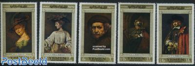 Rembrandt paintings 5v, gold border