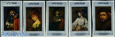 Rembrandt paintings 5v, silver border imperforated