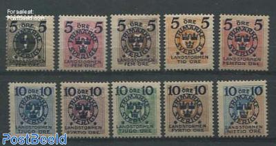 Overprints on postage due stamps 10v